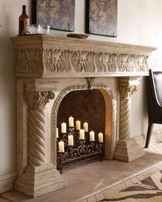Shop fireplace screens and mantels at Horchow. Make your fireplace a little extra fancy with these mantel screens and more. Fireplace Mantle, Fireplace Surrounds, Fireplace Design, Stone Mantel, Fireplace Ideas, Fireplace Candelabra, Fireplace Facade, Wood Mantels, Mantles