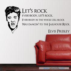 """""""Let´s Rock"""" , El rock de la cárcel es una película musical estadounidense estrenada el 8 de noviembre de 1957, famosa por la participación de Elvis Presley y por la canción del mismo título. Este vinilo se entrega en una pieza de 130x56 cm #retovinilo #vinilosdecorativos #vinilo #musica #elvis"""