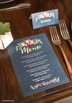 Customize this printable Thanksgiving dinner menu card by handcrafted lifestyle designer Lia Griffith to impress your guests this holiday season