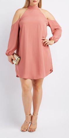 Plus Size Cold Shoulder Dress big size fashion http://amzn.to/2kRZpiY
