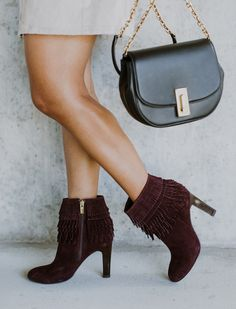 isola shoes, women's shoes, women's fashion, burgundy booties, fringe ankle booties, fall booties, marc jacobs handbag,