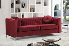 Isabelle Burgundy Velvet Sofa