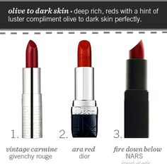 Red lipstick for olive to dark skin.