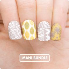 Doodles 04 , Flower Power 01(02) Stamping Nail Polishes: ● White Knight ● Colonel Mustard ● Cloudy Day ● Falcon
