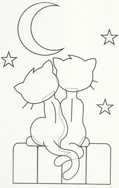 Hand Embroidery Design Cats and a moon. Could use this as an applique on a quilt… Cat Applique, Applique Templates, Applique Patterns, Applique Designs, Quilt Patterns, Embroidery Designs, Cat Crafts, Sewing Crafts, Coloring Books