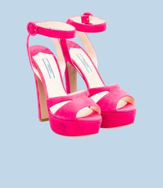 Prada women suede sandals Hot Pink High Heels with a thick heel and leather sole. Awesome shoes!