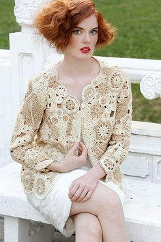 Freeform Crochet Bolero Shrug Sweater in Beige and Soft Brown. $200.00, via Etsy.