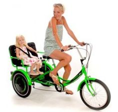 The Mission RV Child Transporter Tandem Tricycle is a specially designed frame with a twin child seat and safety harnesses. Velo Tricycle, Adult Tricycle, Electric Scooter For Kids, Kids Scooter, 2 Kind, Baby Kind, Segway For Sale, Bike Cart, Velo Cargo