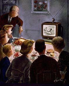 Thanksgiving Dinner Distraction, art by Constantin Alajalov. Detail from November 26, 1949 New Yorker Magazine cover.