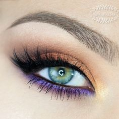 gold/copper and purple eye makeup by katosu