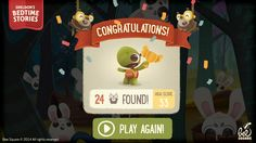 cute kid-oriented level complete screen with score and play again button, confetti