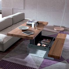 Small Space Storage: A dining table with storage bench