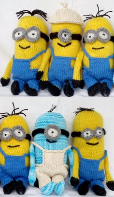 Free Knitting Pattern for Minion Softies 9 inch - Stana D. Sortor designed these 9″ (22 cm) minion toys.