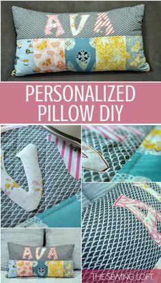 "Personalized Pillows are easy to make and the perfect gift for that ""hard to buy for"" in your life. Great tutorial with easy instructions by The Sewing Loft"