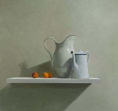 Helen Simmonds :: Two Jugs Three Apricots, Oil on panel