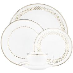 kate spade new york Richmont Road 5-Piece Place Setting ($212) ❤ liked on Polyvore featuring home, kitchen & dining, dinnerware, gold rimmed dinner plates, kate spade fine china, polka dot dinner plates, colored dinnerware and china dinner set