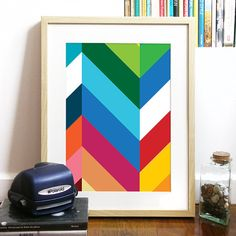 Geometric chevron pattern with lots of color to brighten up your home :)