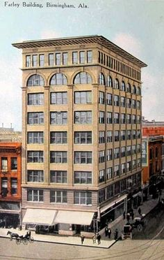"""The Farley Building is a 126-foot-tall, 9 story building in Downtown Birmingham located on the southwest corner of 3rd Avenue and 20th Street North.  Built in 1909, the building was the fourth steel-frame """"skyscraper"""" erected in Birmingham."""
