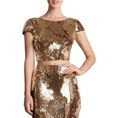 Women's Dress The Population 'Gigi' Scoop Back Sequin Crop Top ($110) ❤ liked on Polyvore featuring tops, gold, brown crop top, scoop back top, brown tops, bateau neck tops and boat neck tops
