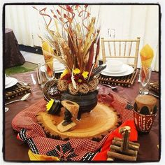 Traditional African Wedding Centerpieces And Decor. Www Regarding African Party Decorations - Best Home & Party Decoration Ideas African Party Theme, African Wedding Theme, African Weddings, Zulu Traditional Wedding, Traditional Decor, Wedding Table Decorations, Wedding Centerpieces, Centerpiece Ideas, Zulu Wedding