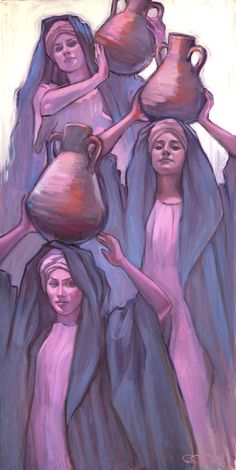 Women at the Well - Rose Datoc Dall Catholic Art, Religious Art, Arabian Art, Powerful Art, Prophetic Art, Biblical Art, Egyptian Art, Bible Art, Art Drawings Sketches