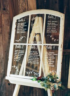 Pretty windowpane table seating chart: http://www.stylemepretty.com/little-black-book-blog/2016/02/08/ethereal-autumn-wedding-at-vista-west-ranch/ | Photography: Mint Photography - http://mymintphotography.com/