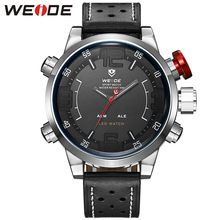 2016 WEIDE Top Brand Fashion Mens Watches Leather Men's Quartz Hour Clock Analog Digital LED Watch Sports Military Wrist Watches(China (Mainland))