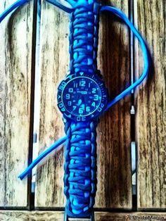 Blue/Black Paracord Watchband.