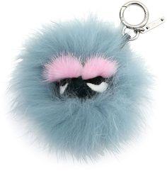 Fendi Mini Eyelash Monster Fur Charm for Handbag, Blue/Black/Pink