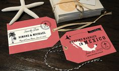 Luggage Tag Save the Dates with a map by Designkandy $25.00