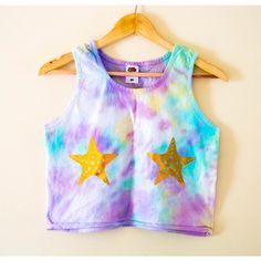Tie Dye Starfish Mermaid Sleeveless Crop Top T Shirt s/m/l/xl ($22) ❤ liked on Polyvore featuring tops, t-shirts, black, women's clothing, tie dyed t shirts, black top, black t shirt, sleeveless t shirt and crop top