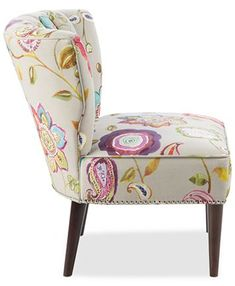 Furniture Lindley Floral Fabric Accent Chair & Reviews - Chairs - Furniture - Macy's Unique Living Room Furniture, Nailhead Trim, Floral Fabric, Living Spaces, Accent Chairs, Pattern, Spiritual, Design, Home Decor