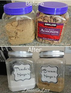 Costco almond containers turned pantry canisters! Genius and Cheap!