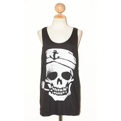 Sailor Skull Biting A Pipe Halloween Charcoal Black Women Top Clothing... ($16) ❤ liked on Polyvore