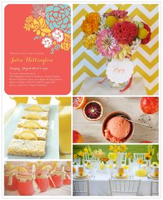 Bright, citrus colors are a perfect choice for your summer soirees. We played up the lemon yellow and coral hues in this bridal shower invite with vibrant flowers, and desserts to match! Find more inspiration boards at blog.weddingpaperdivas.com.