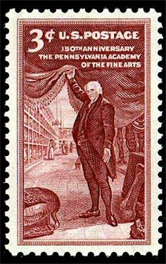3rd Stamp worldwide with Dinosaurs and/or Fossils printed on. USA 1955.  Showing the prominent collector, Mr. Peale, with the Mastodon (Mammut americanus). Via London now in Darmstadt / Germany.