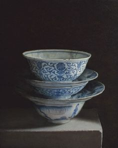 Still life with bowls. 2011. Oil on panel. Painting by Uzbek artist Erkin