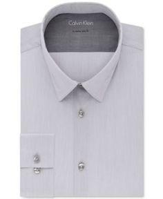 Calvin Klein Men's X Extra-Slim Fit Stretch Gray Solid Dress Shirt - White 17-17 1/2 36-37