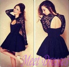 Black Short Prom Gown Lace Applique Short Junior Homecoming Dresses With Long Sleeves Open Back Party Homecoming Dresses - Thumbnail 1