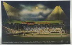 Vintage Postcard Wilmington Park Baseball Club Delaware Blue Rocks Linen PC