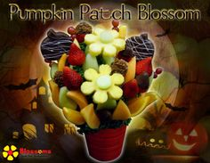 Halloween Pumpkin Patch Blossoms Fresh Fruit Arrangements - Bouquets you can eat!