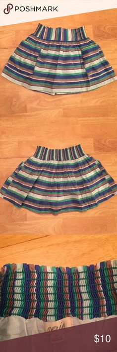 Aerie Mini Skirt Aerie striped miniskirt with stretchy elastic waistband and pockets on the front. Green, blue, tan, and white stripes. Size small aerie Skirts Mini