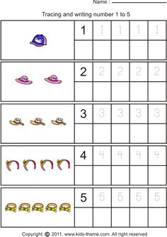 Math Worksheets for Kindergarten Writing Numbers ...