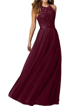 Amazon.com: Audrey Bride Sexy Halter Long Prom Dresses Beaded Evening Gowns for Woman-2-Dark Wine: Clothing