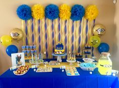 Alex's 5th Minion Birthday Party. My funnest setup YET!   Tags; Minions, boys party, yellow and blue, poms, streamers, snack table, minions snacks. Party decor