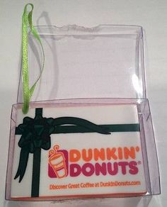 2001 Holiday To Go Donut Box Ornament from Dunkin Donuts. Light Green Ribbon