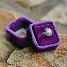 Erstwhile Edwardian Vintage Engagement Ring in a Mrs. Box Velvet Ring Box