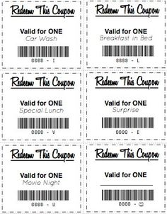 Free printable gift coupons perfect for coupon books for kids to receive or to make and give as gifts.