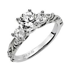ArtCarved Three Stone Engagement Ring