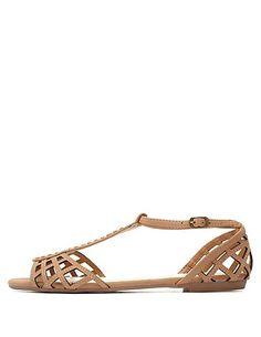 Bamboo Cut-Out T-Strap Flat Sandals #charlotterusse #charlottelook